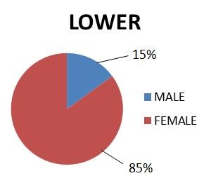lower quartile male female split